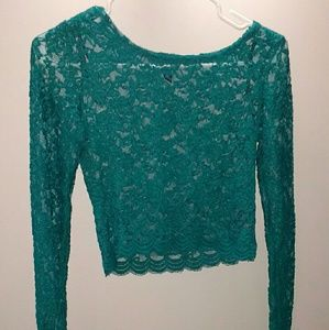 Forever 21 turquoise lace crop sheer shirt medium
